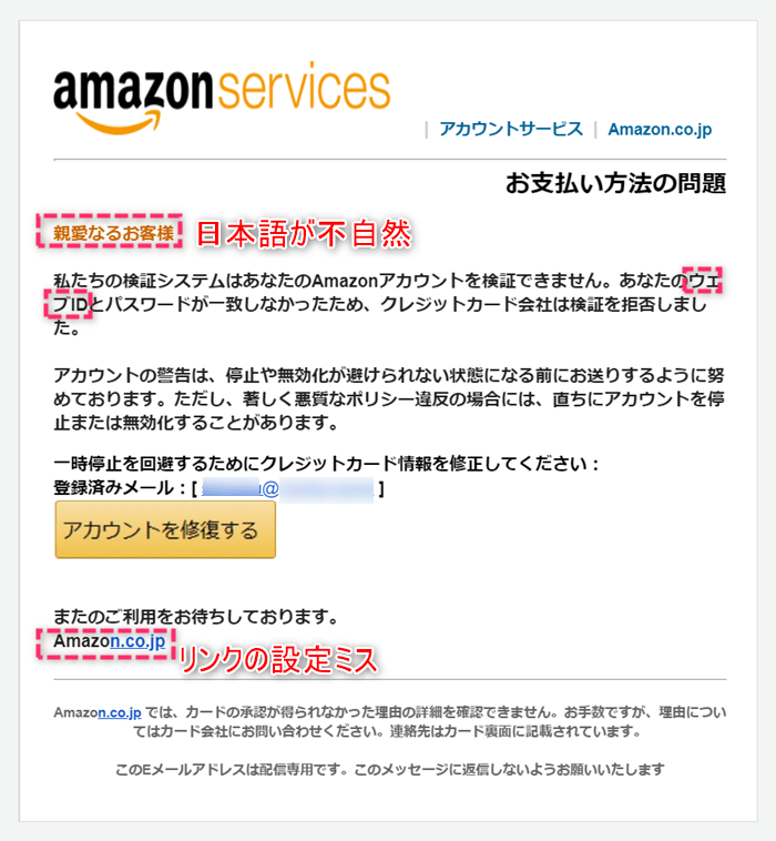 2020年12月Amazonのセキュリティ警告をよそおう精巧なフィッシングメール
