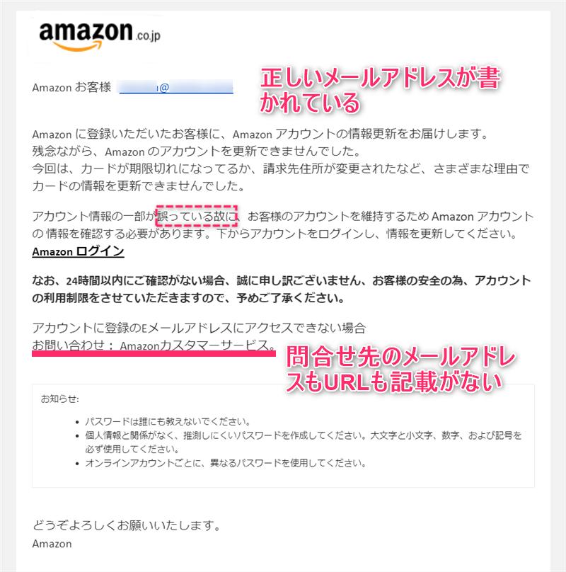 お支払い方法の情報を更新をよそおうAmazonのフィッシングメール