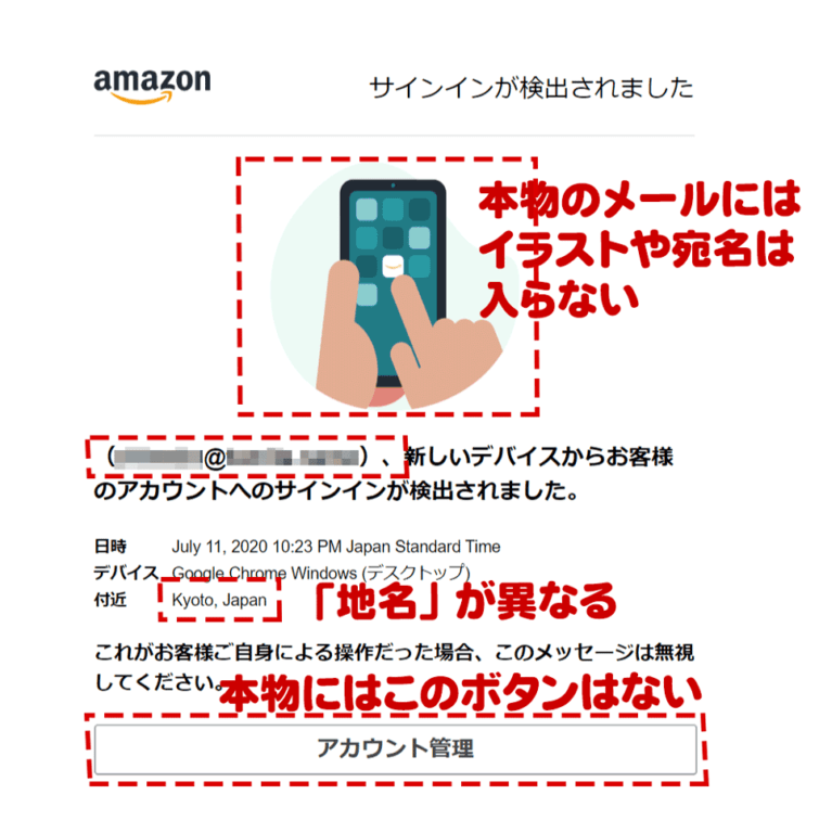 Amazonサインイン検出のセキュリティ警告をよそおうフィッシングメール