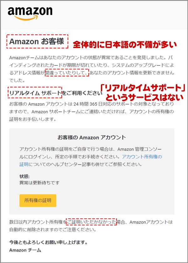 Amazonアカウント所有権の証明をよそおうフィッシングメール