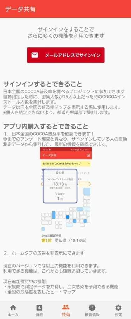 3密チェッカーの使い方「データ共有機能と有料版の説明画面」