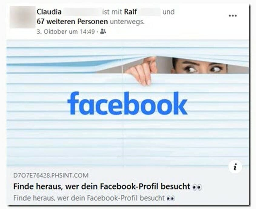 Facebookのプロフィール訪問履歴確認を装うフィッシング詐欺