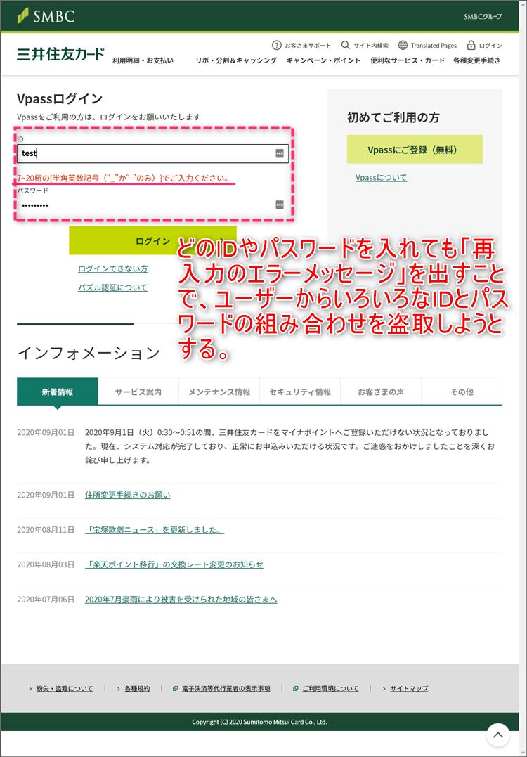 三井住友銀行カードの偽サイト