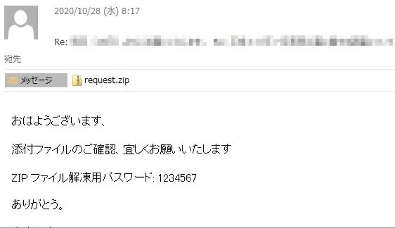 IcedIDによって偽装されたメール
