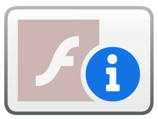 Adobe Flash伸しよう禁止を示すページ