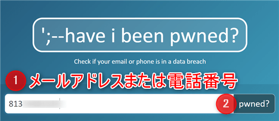 個人情報流出確認サービスHave I been Pwnedの入力方法